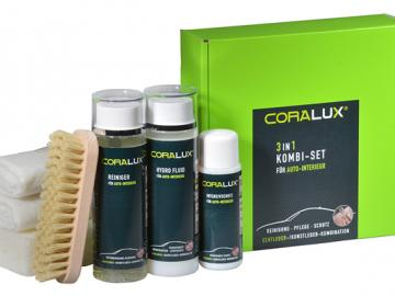 P02k CORALUX® 3 in 1 Kombi-Set Reinigung - Pflege - Schutz für Echtleder / Kunstleder Kombination