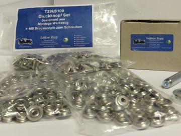 T39kS100 Druckknopf Set Montagewerkzeug + 100 Druckknöpfe Messing vernickelt