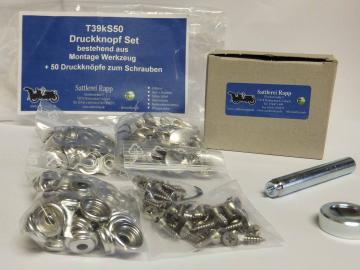 T39kS50 Druckknopf Set mit Montagewerkzeug + 50 Druckknöpfe messing vernickelt
