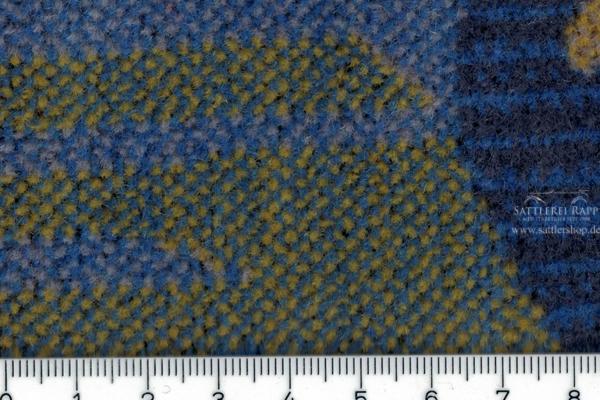 BUS1 Stoff blau gelb gemustert Velour