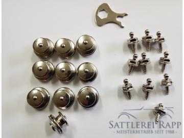 TSn10 Loxx Set  10 x Oberteil mit grossem Kopf + 10 x Unterteil Holz-Blechschraube 10 mm vernickelt
