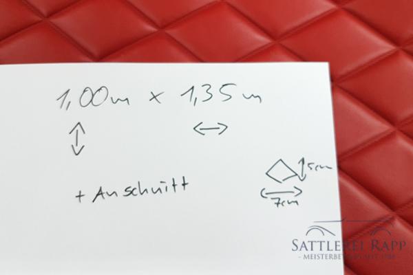 KLP02r Kunstleder rot abgeschweisste Rauten 1,35m breit Sonderposten