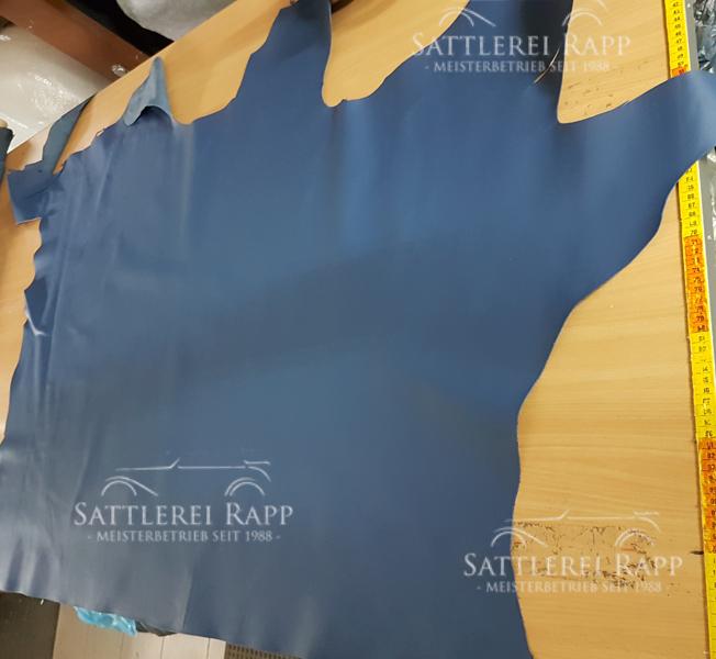 L001bl Leder Echtleder blau günstig Sonderposten 1/2 Haut und mehr